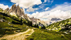 Dolomites view from a trail Stock Photo