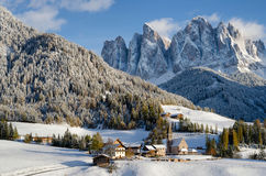 Dolomites village in the snow in winter Stock Image