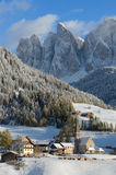 Dolomites village in winter royalty free stock photo