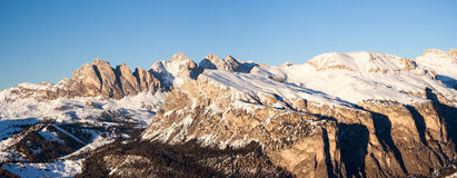 Dolomites winter panorama at the sunset Stock Images