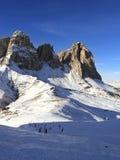dolomiti意大利山sassolungo 免版税库存照片