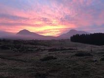 Заход солнца на dolomiti стоковая фотография rf