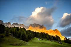 Dolomiti, Alpe di Fanes. Trentino Alto Adige, Italy. The Fanes-Senes-Braies nature park, which has been a UNESCO World Heritage Site since 2009, covers an area royalty free stock images