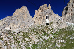 Dolomiti - cableway on Sassolungo Stock Photos