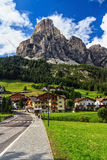 Dolomiti - Corvara and Mt Sassongher Stock Photo