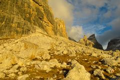Rocky mountain valley of Dolomites at sunset, Dolomiti di Brenta. Dolomiti di Brenta, Italy, the Dolomites. Beautiful rocky peak mountains Alps at sunset stock image