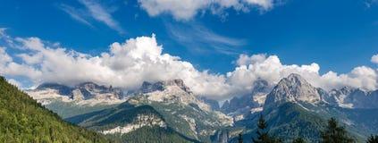 Dolomiti di Brenta - Trentino Alto Adige Italy. Brenta Dolomites, west side, seen from Rendena Valley. National Park of Adamello Brenta. Trentino Alto Adige stock images