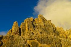 Dolomiti Di Brenta zmierzchu światła góry Obraz Stock