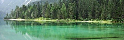 Dolomiti góry zieleni jezioro panorama1 Obrazy Stock