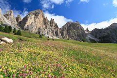 Dolomiti - hike in Gardena pass Royalty Free Stock Image