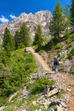 Dolomiti - hiker in Contrin Valley Stock Photography