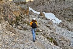 Dolomiti - hiker in Val Setus Royalty Free Stock Photo