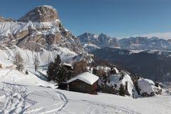 Dolomiti italiano, Colfusco Immagine Stock