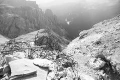 Dolomiti, Italy. Remnants of World War I. Trenches on Mount Lagazuoi Stock Image