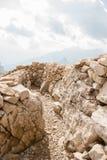 Dolomiti, Italy. Walking trenches on the rocky mountains of Lagazuoi Mountain Stock Photography