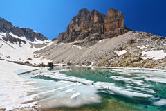 Dolomiti - lake Pisciadu Stock Images