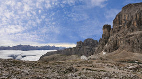 Dolomiti landscape with morning fog Stock Photography