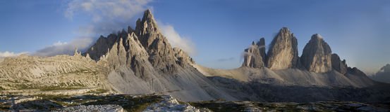 Dolomiti landscape. Mount Paterno and Tre Cime Royalty Free Stock Images
