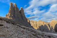 Dolomiti - las torres de Vajolet Foto de archivo