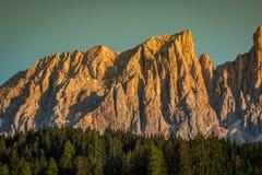 Dolomiti - Latemar alla luce di tramonto Fotografia Stock Libera da Diritti
