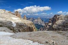 Dolomiti - Mezdi dal i den Sella monteringen Royaltyfria Foton