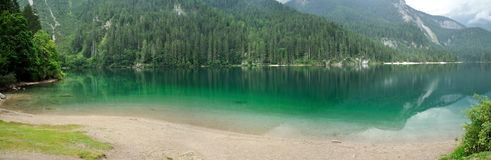 Dolomiti mountain green lake panorama Royalty Free Stock Images