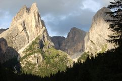 Dolomiti mountains. Sunset in Dolomites mountains in northern Italy by the city of Bozen Royalty Free Stock Photos