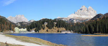 Dolomiti Mountains, Misurina Lake. Royalty Free Stock Image