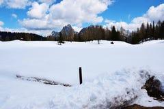 Dolomiti śnieg i góry Zdjęcie Royalty Free