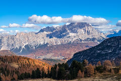 Dolomiti, panorama from Passo Rolle Stock Photos