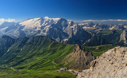 Dolomiti - Pordoi pass and mt Marmolada royalty free stock photo