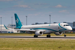 Dolomiti. PRAGUE, CZECH REPUBLIC - JULY 29: Embraer ERJ-195 of Air Dolomiti lands to PRG Airport in Prague on July 29, 2017.  Air Dolomiti is the Italian airline Stock Image
