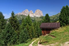 Dolomiti - Sassolungo mount from Fassa Valley, Italy stock photography