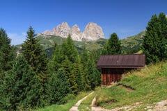 Dolomiti - Sassolungo zet van Fassa-Vallei, Italië op stock fotografie