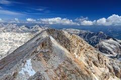 Dolomiti - sikt från Piz Boe Arkivfoto