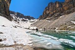 Dolomiti - sjö Pisciadu Royaltyfri Fotografi