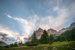 Dolomites panorama after a thunderstorm  Royalty Free Stock Photo