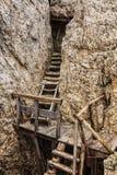 Dolomiti - stary WW1 okop Fotografia Royalty Free