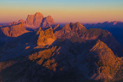 Dolomiti sunset from Lagazuoi stock images