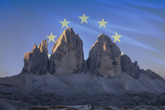 Dolomiti unesco world heritage flags series_5. Dolomiti unesco world heritage flags series; Tre Cime di Lavaredo - Europe Stock Photos