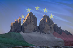 Dolomiti unesco world heritage flags series_4. Dolomiti unesco world heritage flags series; Tre Cime di Lavaredo - Europe & Italy Stock Photo