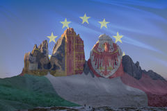 Dolomiti unesco world heritage flags series_1. Dolomiti unesco world heritage flags series; Tre Cime di Lavaredo - Europe  Italy, Sudtirol-Alto Adige & Veneto Stock Photography