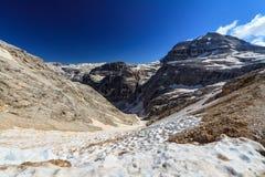Dolomiti - Val Lasties and Piz Boe' peak Royalty Free Stock Photo