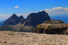 Mountains scenery with lift in Gruppo Sella monuments, nature in Dolomiti, UNESCO mountains Italy, Europe stock image