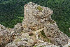 Dolomiti - WW1 ruiny w mt Sass De Stria Zdjęcie Stock