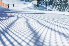 Dolomity, narciarski teren z pięknymi skłonami Pusty narciarski skłon w zimie na słonecznym dniu Przygotowany piste i słoneczny d zdjęcie royalty free