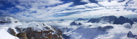 Dolomity panorama. In the winter Royalty Free Stock Images