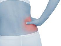 Dolor agudo en un abdomen de la mujer Imagenes de archivo