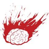 Dolor de cabeza ardiente del cerebro con el fuego o la pintura de Grunge Foto de archivo