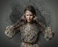 Dolor de cabeza. Obsesión. Pensamientos oscuros. Fotos de archivo libres de regalías